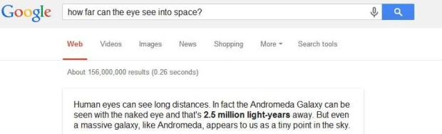 Google answer - how far can the eye see into space
