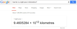Google answer - how far is a light year in km